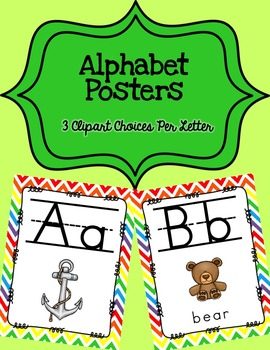 Alphabet Posters Print-Lined {White Chevron}