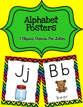 Alphabet Posters Print-Unlined {Black Chevron}