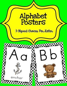 Alphabet Posters Print-Unlined {Black Polka-Dots}