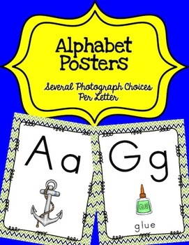 Alphabet Posters Print-Unlined {Navy and Lime Green}