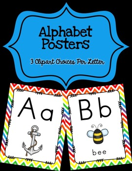Alphabet Posters Print-Unlined {White Chevron}