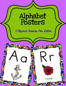 Alphabet Posters Print-Unlined {White Rainbow Polka-Dots}