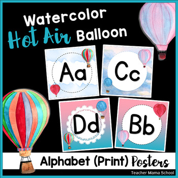 Alphabet Posters (Print) in Watercolor Hot Air Balloon Theme