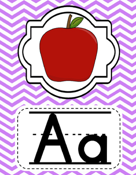 Alphabet Posters Classroom Decor- Purple, Blue, Pink, and Green Chevron