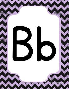 #roomdecor Classroom Decor Alphabet Posters Purple Chalkboard Chevron - Italics
