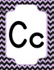 Classroom Decor Alphabet Posters Purple Chalkboard Chevron - Italics