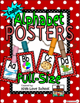 Alphabet Posters-RED Polka Dots-ENGLISH with Picture/Words-Elementary