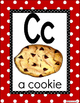 Alphabet Posters-RED Polka Dots-ENGLISH with Picture/Words
