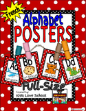 Alphabet Posters-RED Polka Dots-FRENCH- with Picture/Words-FSL and Immersion