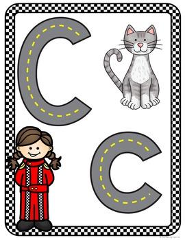 Alphabet Posters Race Car Theme