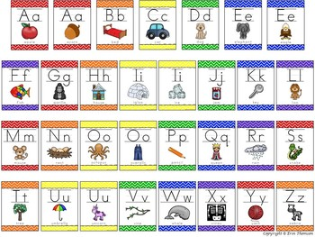 Alphabet Posters ~ Rainbow Chevron