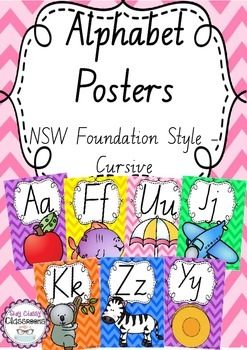 Alphabet Posters Rainbow Chevron - NSW Foundation Cursive