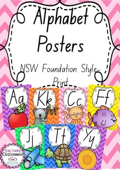 Alphabet Posters Rainbow Chevron - NSW Foundation Print