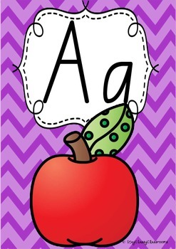 Alphabet Posters Rainbow Chevron - QLD Beginners Font