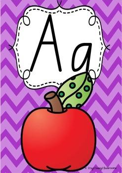 Alphabet Posters Rainbow Chevron - Queensland Beginners Font
