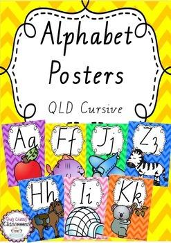 Alphabet Posters Rainbow Chevron - Queensland Cursive