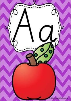 Alphabet Posters Rainbow Chevron - SA Modern Cursive