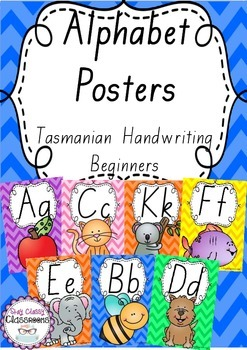 Alphabet Posters Rainbow Chevron - Tasmanian Handwriting Beginners