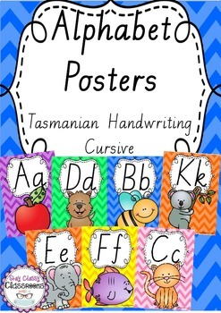 Alphabet Posters Rainbow Chevron - Tasmanian Handwriting Cursive