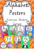 Alphabet Posters Rainbow Chevron - Victorian Modern Cursive