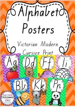 Alphabet Posters Rainbow Chevron - Victorian Modern Cursive Print