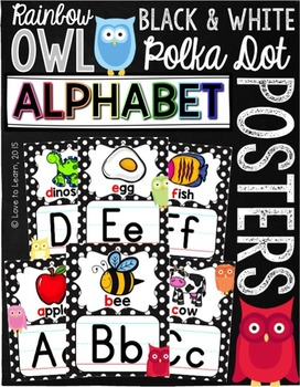 Alphabet Posters - Rainbow Owl with Black & White Polka Dots