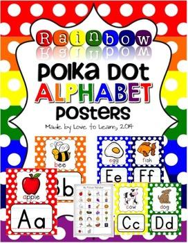 Alphabet Posters - Rainbow Polka Dot