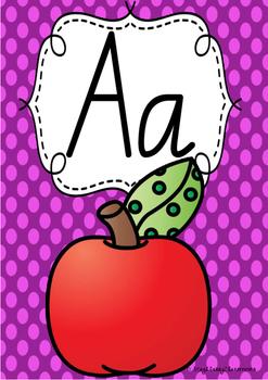 Alphabet Posters Rainbow Spotty - New South Wales Foundation Cursive