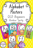 Alphabet Posters Rainbow Spotty - Queensland Beginners Font