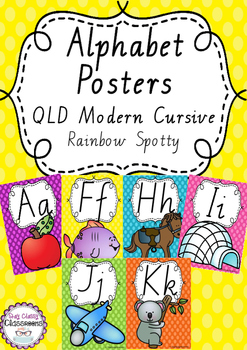 Alphabet Posters Rainbow Spotty - QLD Cursive