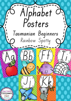 Alphabet Posters Rainbow Spotty - Tasmanian Handwriting Beginners