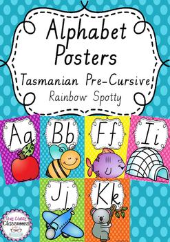 Alphabet Posters Rainbow Spotty - Tasmanian Handwriting Cursive