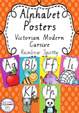 Alphabet Posters Rainbow Spotty - Victorian Modern Cursive