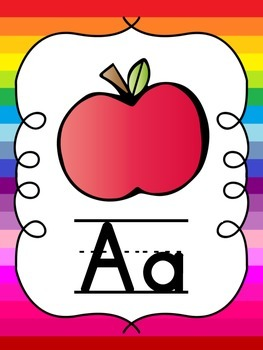 Alphabet Posters & Word Wall Letters {Rainbow Stripes}