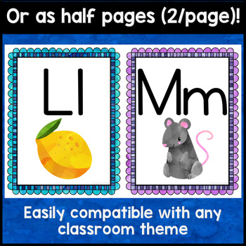 Alphabet Posters - Bright Watercolor Classroom Decor