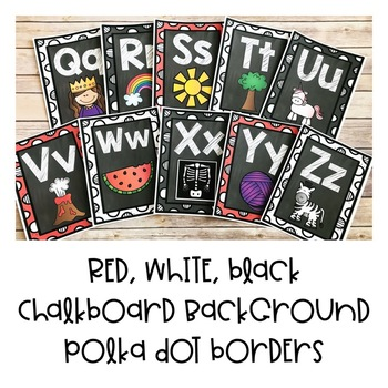 Alphabet Posters | Red, Black, White Border on Chalkboard Background