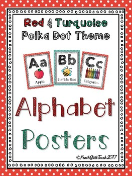 Alphabet Posters Red & Turquoise Polka Dot Theme