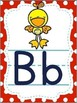 Alphabet Posters Red and Turquoise with ABC Animals