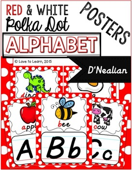 Alphabet Posters - Red & White Polka Dot - D'Nealian Manuscript