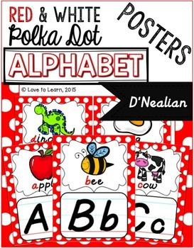 Alphabet Posters - Red & White Polka Dot - D'Nealian Manuscript