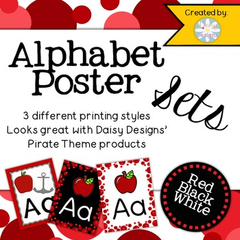 Alphabet Posters - Red, White, and Black
