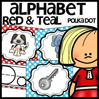 Alphabet Posters (Red and Teal Polka Dots)