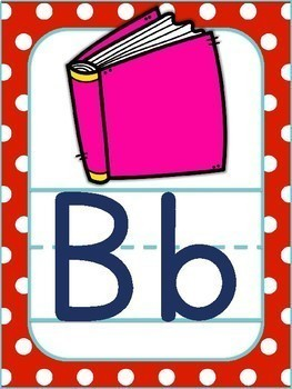 Alphabet Posters Red and Turquoise with ABC Objects