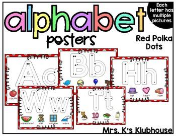 Alphabet Posters- Red and White Polka Dots