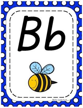 Classroom Decor Alphabet Posters - Blue & White Polka Dots - Italics