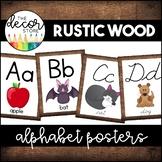 Alphabet Posters: Rustic Wood   Classroom Decor
