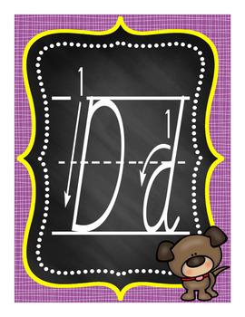Alphabet Posters Set 1C - D'Nealian with Instructional Arrows