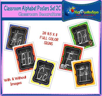 Alphabet Posters Set 2C - D'Nealian with Instructional Arrows