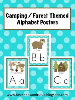 Alphabet Posters Set - Camping / Forest / Woodland Themed (Turquoise)