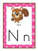 Alphabet Posters Set - Camping / Forest / Woodland Themed (Pink)